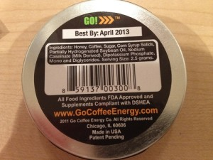 Go Coffee Energy Ingredients