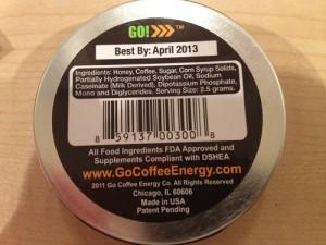 Go Coffee Energy Ingredients