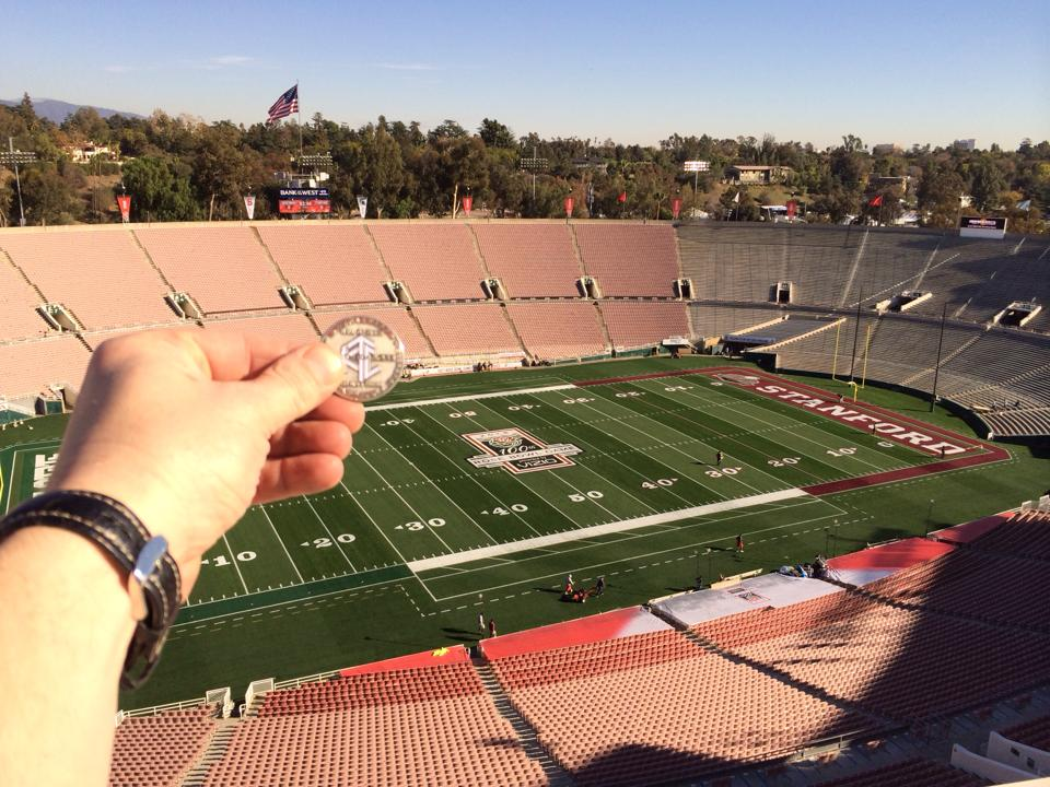 Photo of Luby and His Hall of Fame Coin at the 2014 Rose Bowl