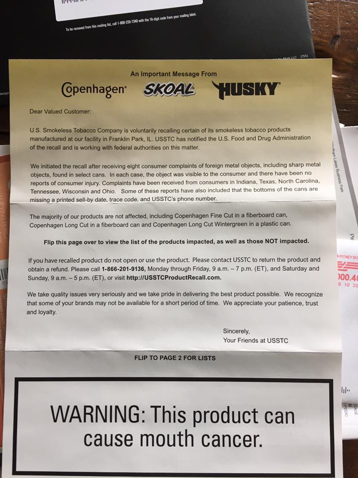 Photo of An Important Message From Skoal – Recall